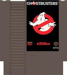 Cartridge artwork for Ghostbusters on the Nintendo NES.