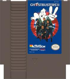 Cartridge artwork for Ghostbusters 2 on the Nintendo NES.