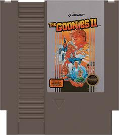 Cartridge artwork for Goonies 2 on the Nintendo NES.
