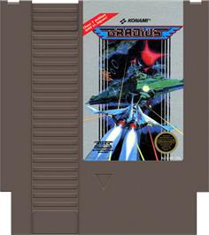 Cartridge artwork for Gradius on the Nintendo NES.
