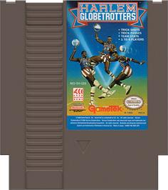 Cartridge artwork for Harlem Globetrotters on the Nintendo NES.