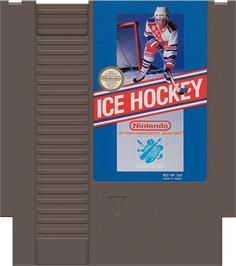 Cartridge artwork for Ice Hockey on the Nintendo NES.