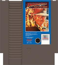 Cartridge artwork for Indiana Jones and the Temple of Doom on the Nintendo NES.