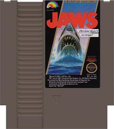 Cartridge artwork for Jaws on the Nintendo NES.