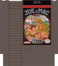 Cartridge artwork for Joe & Mac: Caveman Ninja on the Nintendo NES.
