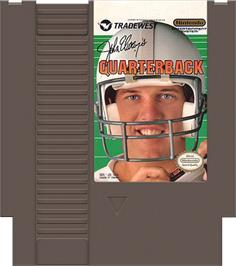 Cartridge artwork for John Elway's Quarterback on the Nintendo NES.