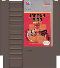 Cartridge artwork for Jordan vs. Bird: One-on-One on the Nintendo NES.