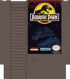 Cartridge artwork for Jurassic Park on the Nintendo NES.
