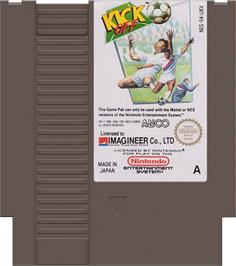 Cartridge artwork for Kick Off on the Nintendo NES.