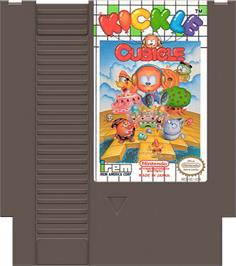 Cartridge artwork for Kickle Cubicle on the Nintendo NES.