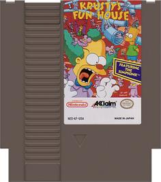 Cartridge artwork for Krusty's Fun House on the Nintendo NES.