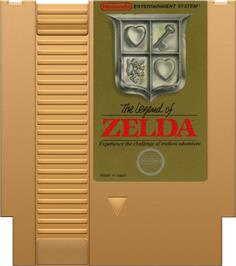Cartridge artwork for Legend of Zelda on the Nintendo NES.