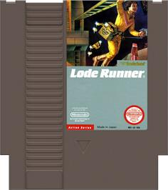 Cartridge artwork for Lode Runner on the Nintendo NES.