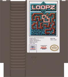 Cartridge artwork for Loopz on the Nintendo NES.