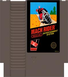 Cartridge artwork for Mach Rider on the Nintendo NES.