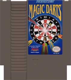 Cartridge artwork for Magic Darts on the Nintendo NES.