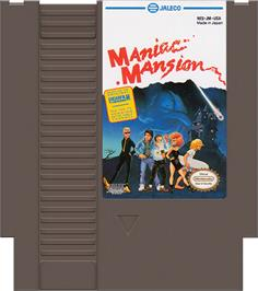 Cartridge artwork for Maniac Mansion on the Nintendo NES.