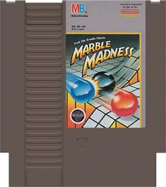 Cartridge artwork for Marble Madness on the Nintendo NES.