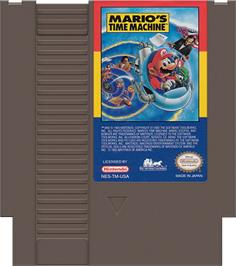 Cartridge artwork for Mario's Time Machine on the Nintendo NES.