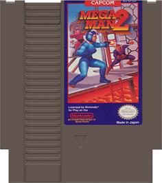 Cartridge artwork for Mega Man 2 on the Nintendo NES.