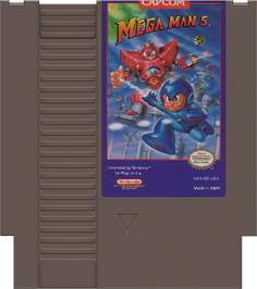 Cartridge artwork for Mega Man 5 on the Nintendo NES.