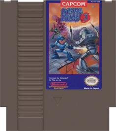 Cartridge artwork for Mega Man III on the Nintendo NES.