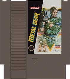 Cartridge artwork for Metal Gear on the Nintendo NES.
