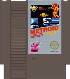 Cartridge artwork for Metroid on the Nintendo NES.