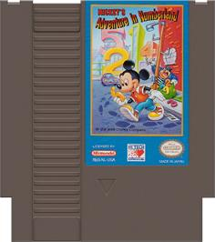 Cartridge artwork for Mickey's Adventures in Numberland on the Nintendo NES.