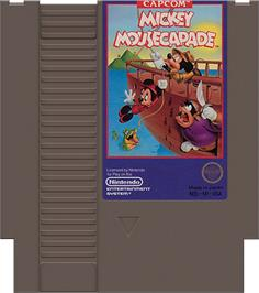 Cartridge artwork for Mickey Mousecapade on the Nintendo NES.