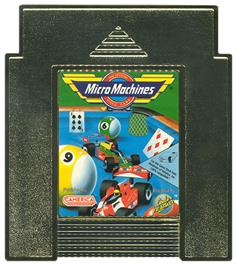 Cartridge artwork for Micro Machines on the Nintendo NES.