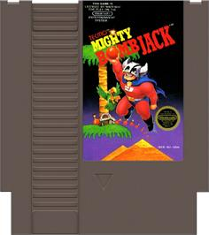 Cartridge artwork for Mighty Bombjack on the Nintendo NES.