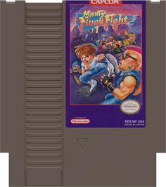 Cartridge artwork for Mighty Final Fight on the Nintendo NES.