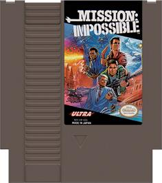 Cartridge artwork for Mission Impossible on the Nintendo NES.