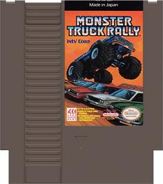 Cartridge artwork for Monster Truck Rally on the Nintendo NES.