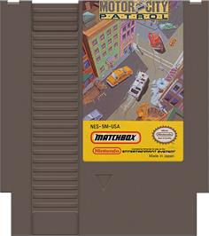 Cartridge artwork for Motor City Patrol on the Nintendo NES.