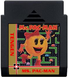 Cartridge artwork for Ms. Pac-Man on the Nintendo NES.