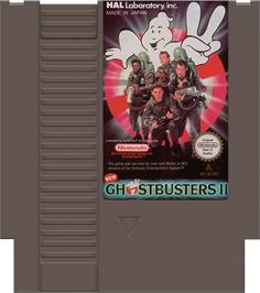 Cartridge artwork for New Ghostbusters 2 on the Nintendo NES.