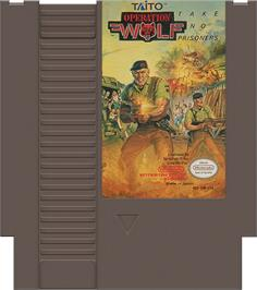 Cartridge artwork for Operation Wolf on the Nintendo NES.