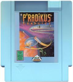 Cartridge artwork for P'radikus Conflict on the Nintendo NES.