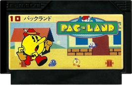 Cartridge artwork for Pac-Land on the Nintendo NES.