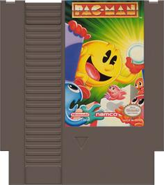 Cartridge artwork for Pac-Man on the Nintendo NES.