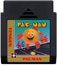 Cartridge artwork for Pac-Mania on the Nintendo NES.