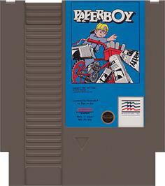 Cartridge artwork for Paperboy on the Nintendo NES.