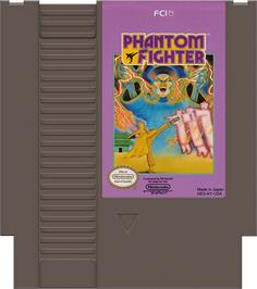 Cartridge artwork for Phantom Fighter on the Nintendo NES.