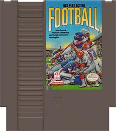 Cartridge artwork for Play Action Football on the Nintendo NES.