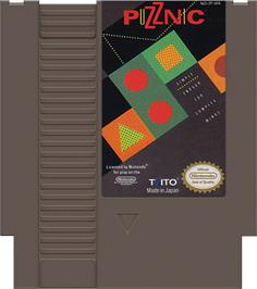 Cartridge artwork for Puzznic on the Nintendo NES.