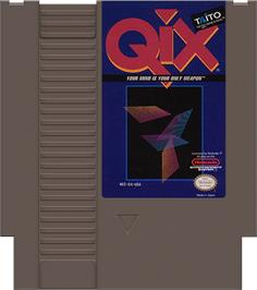 Cartridge artwork for Qix on the Nintendo NES.