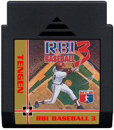 Cartridge artwork for RBI Baseball 3 on the Nintendo NES.