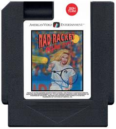Cartridge artwork for Rad Racket: Deluxe Tennis 2 on the Nintendo NES.